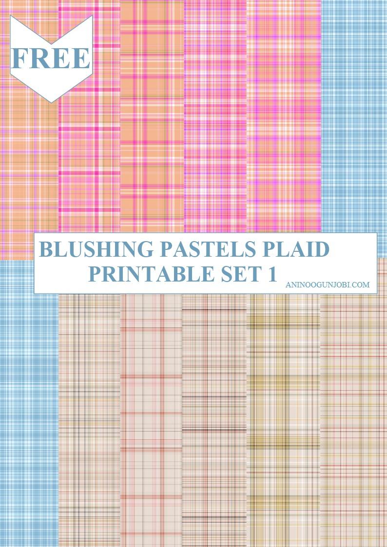 Blushing pastels plaid printable set 1
