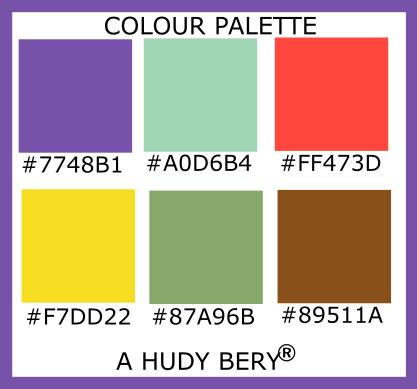 Studio, Turquoise green, Sunset orange, Ripe lemon, Asparagus, Rope, Colour palette of the day