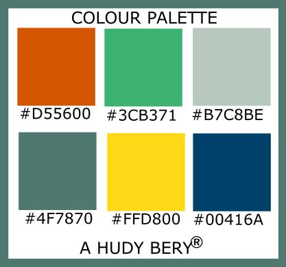 Tenné (Tawny), Medium sea green, Powder ash, Cutty sark, School bus yellow, Dark Imperial blue, Colour palette of the day