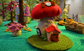 Enchanted Wood competition tag Knitting and stitching