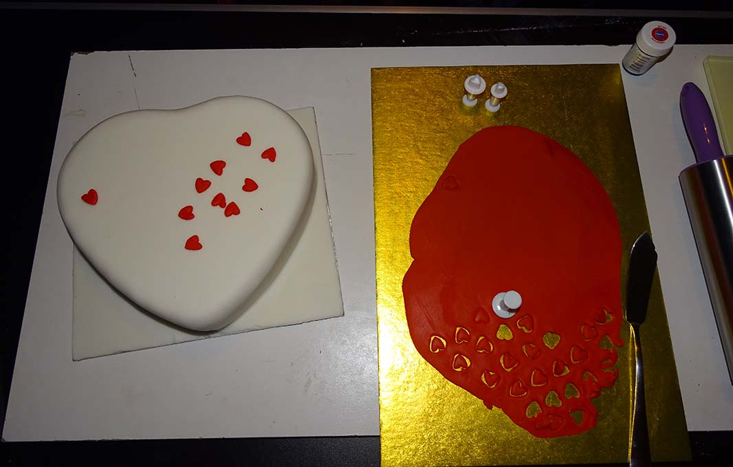 heart shape and mini punch heart valentine cake image 10