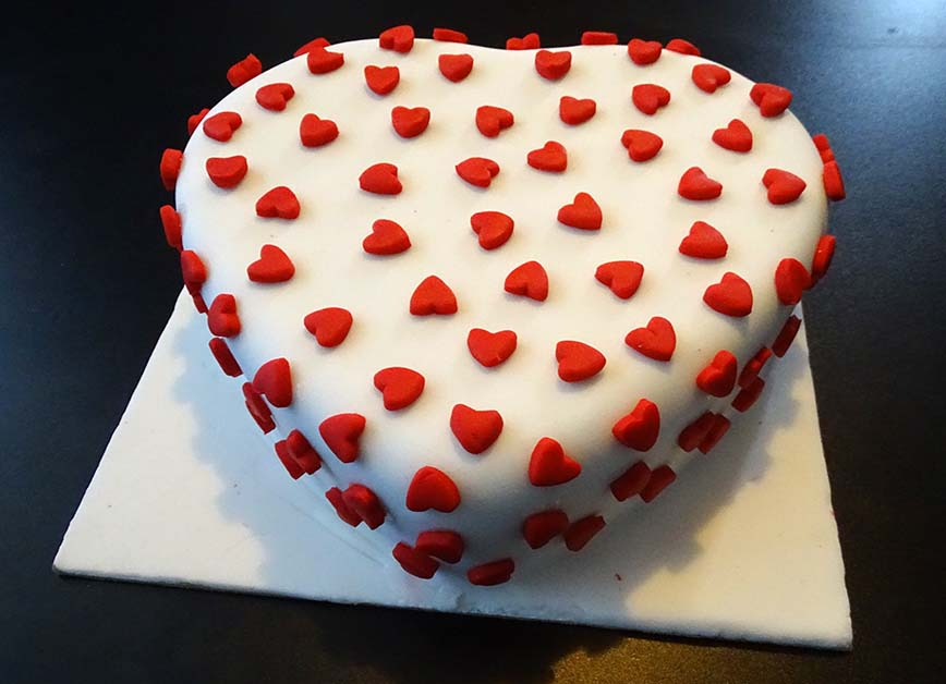 heart shape and mini punch heart valentine cake