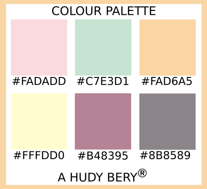 Pale pink, Rodda Paint Spring Meadow 7586, Tuscan, Cream, English Lavender, Taupe gray, Colour palette of the day