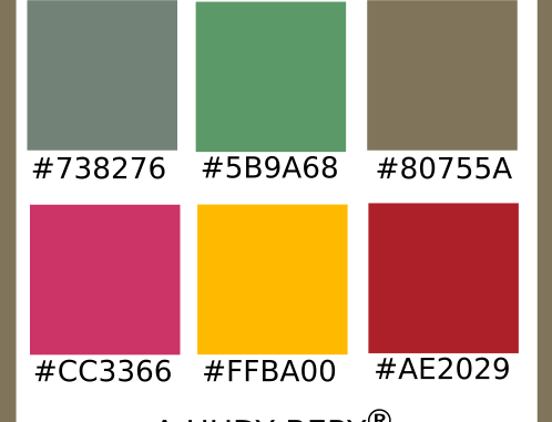 Smoke, Forrst, Spanish Bistre, Steel Pink, Selective Yellow