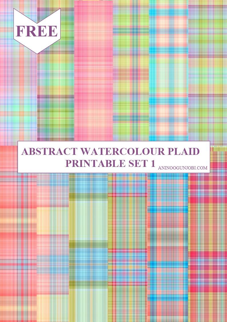 Abstract watercolour plaid printable SET 1