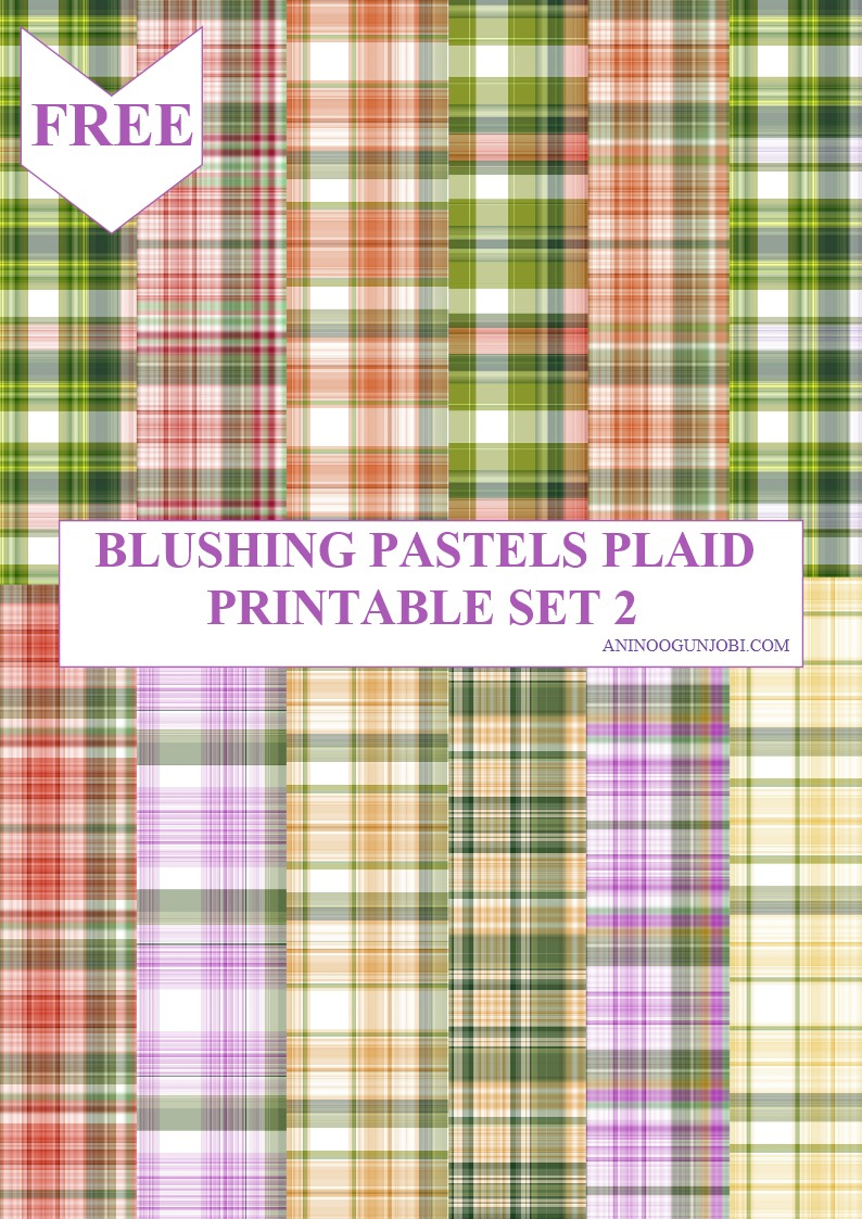 Blushing pastels plaid printable set 2