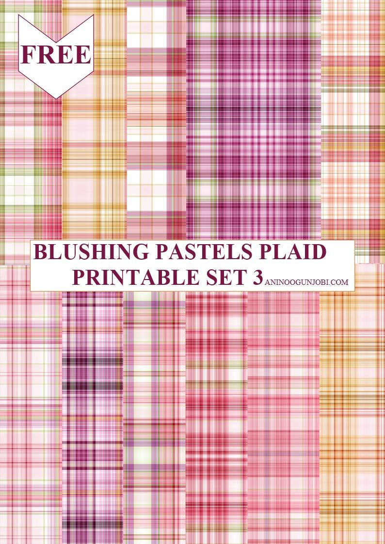 Blushing pastels plaid printable set 3