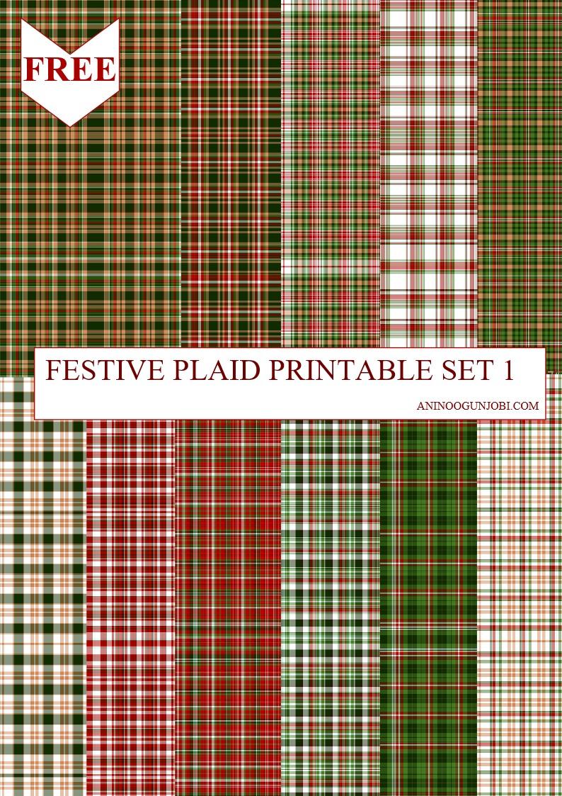 Festive plaid printable set 1