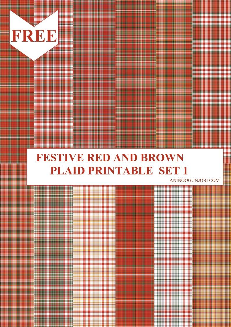Festive red and brown plaid printable set 1