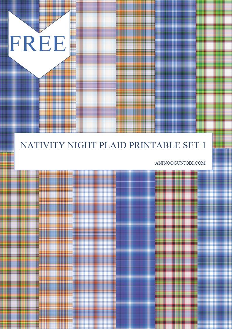 Nativity night plaid printable set 1