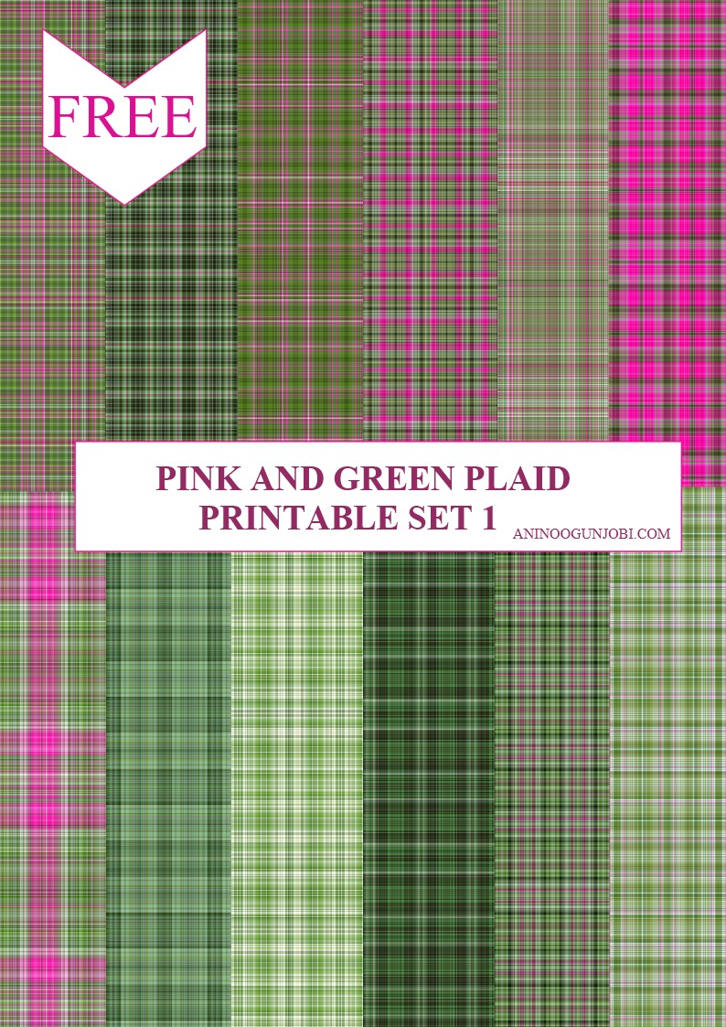 Pink and Green Plaid Printable set 1