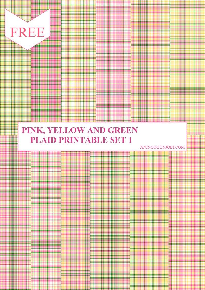 Pink yellow and green plaid printable set 1