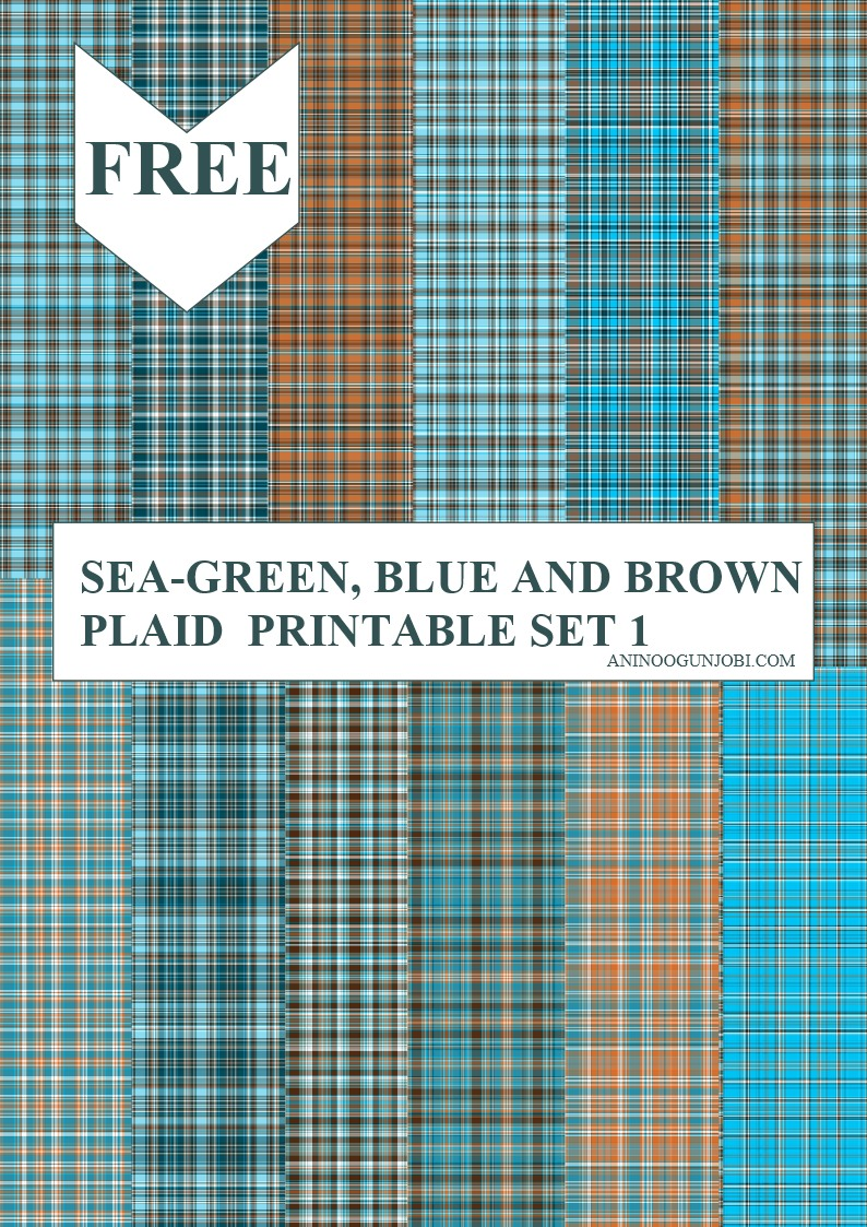 Seagreen blue and brown plaid printable set 1