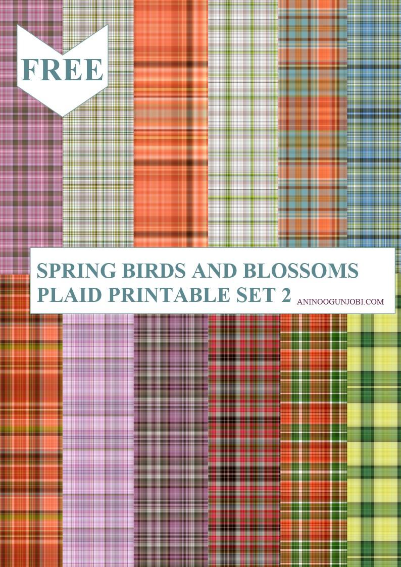 Spring birds and blossoms plaid printable set 2