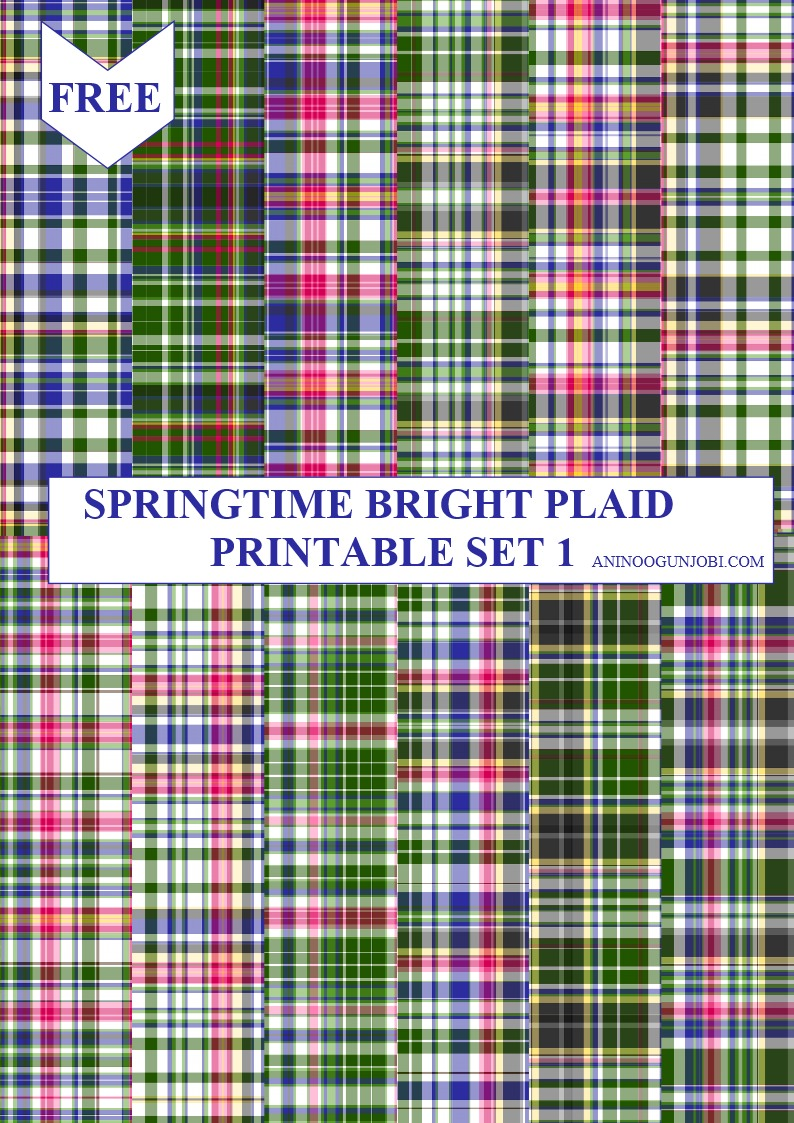 Springtime Bright Plaid Printable SET 1
