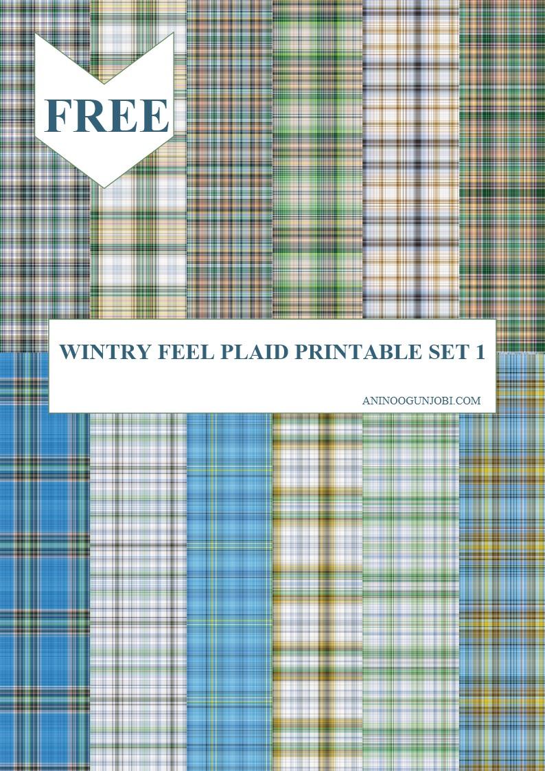 Wintry feel plaid printable set 1