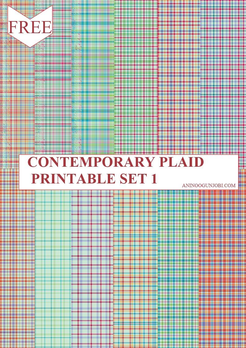 contemporary plaid printable set 1