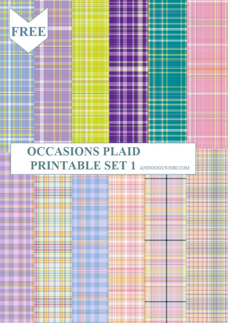 occasions plaid printable Set 1