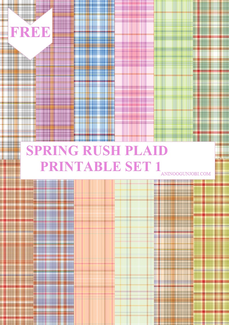 spring rush plaid printable set 1