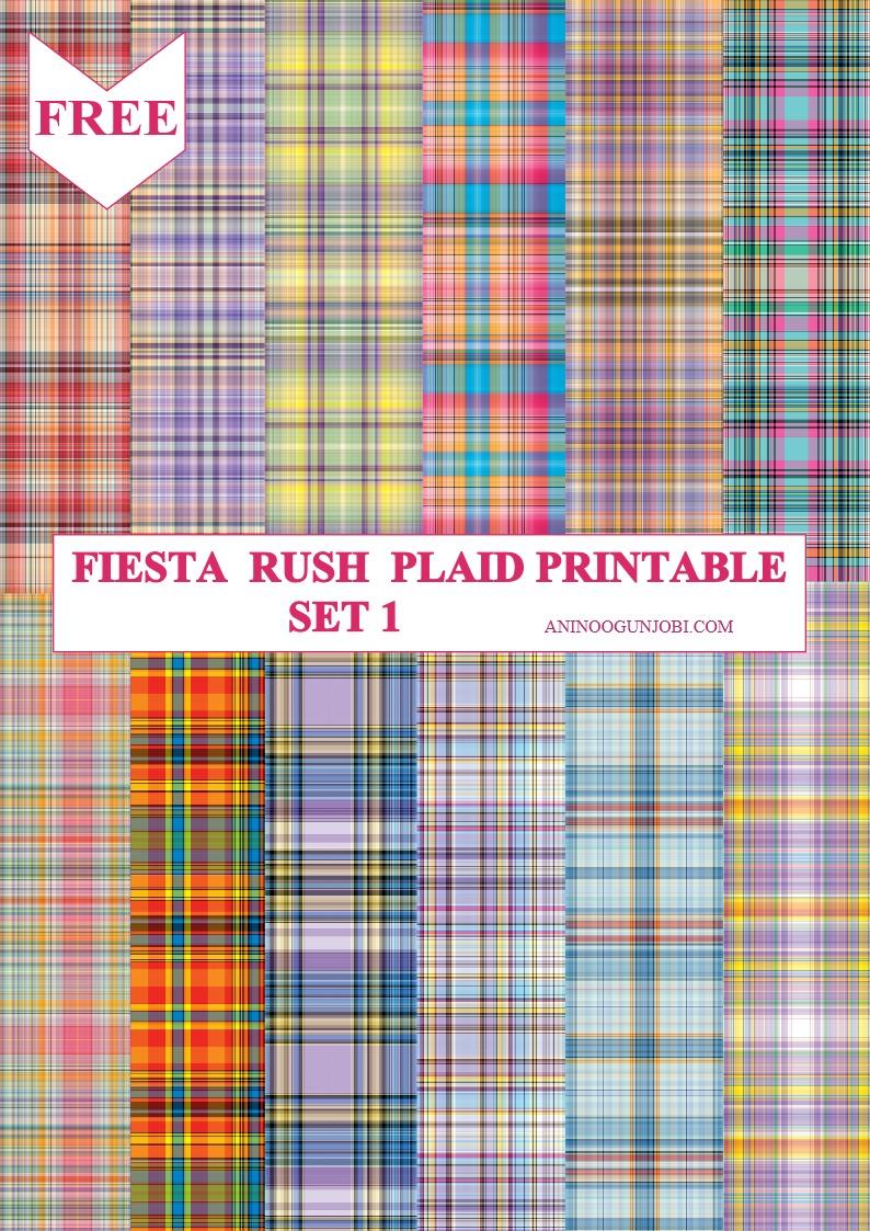 Fiesta Rush plaid printable SET 1
