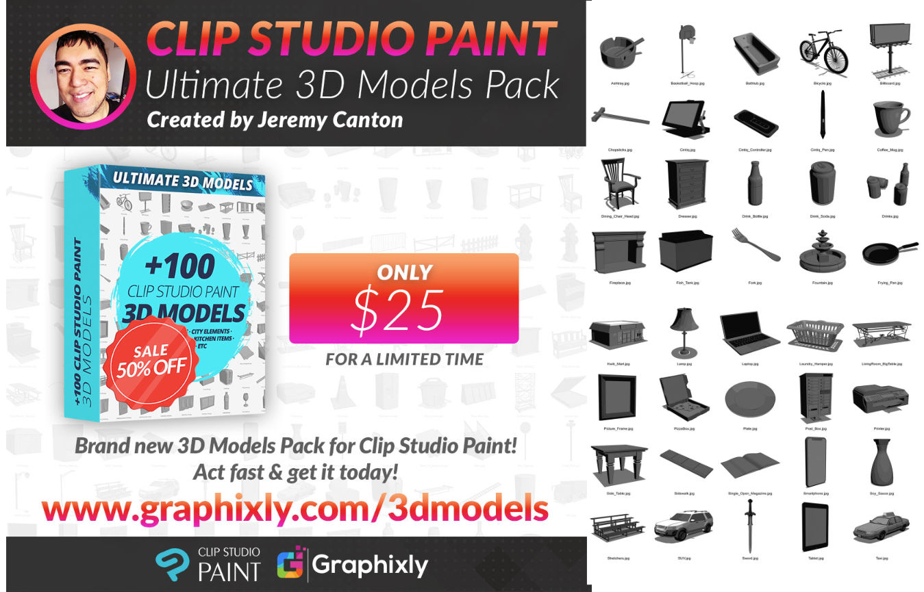 Clip Studio Paint New Ultimate 3D Models Pack Available