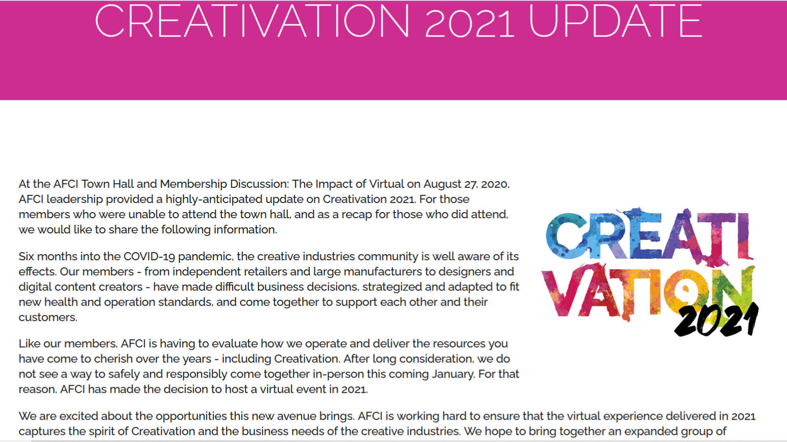 Creativation 2021 to be a virtual event