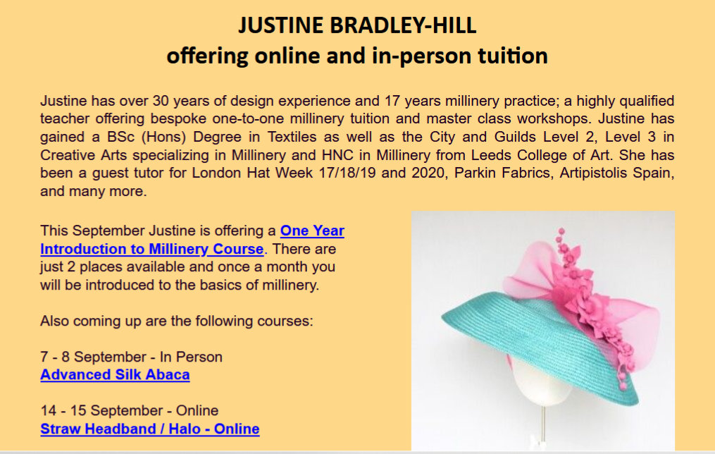 JUSTINE BRADLEY-HILL millinery tuition september 2020