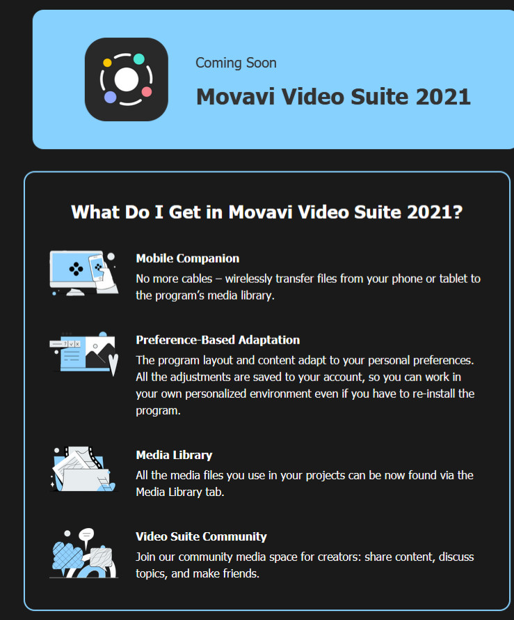 Movavi video suite 2021 will soon be out