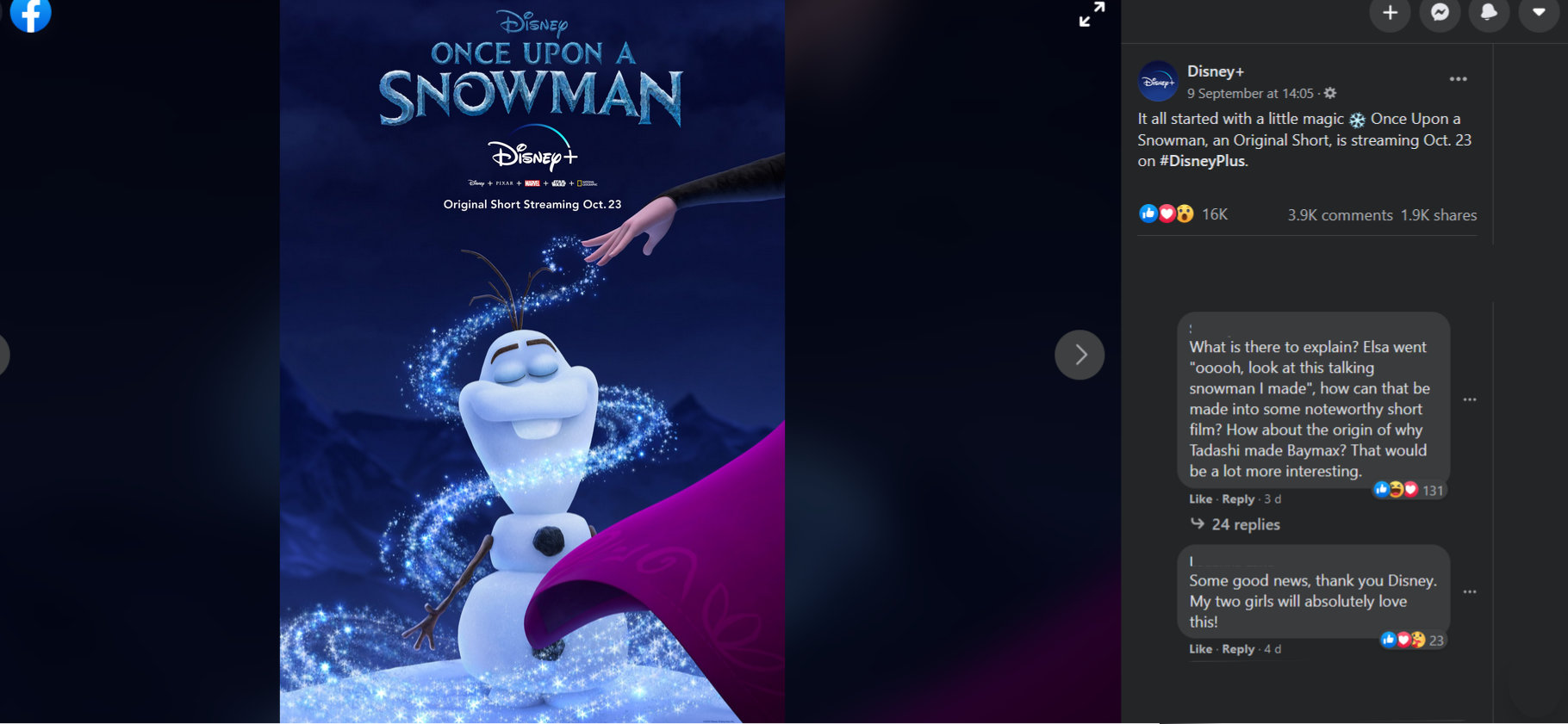 Once upon a snowman coming to Disney Plus