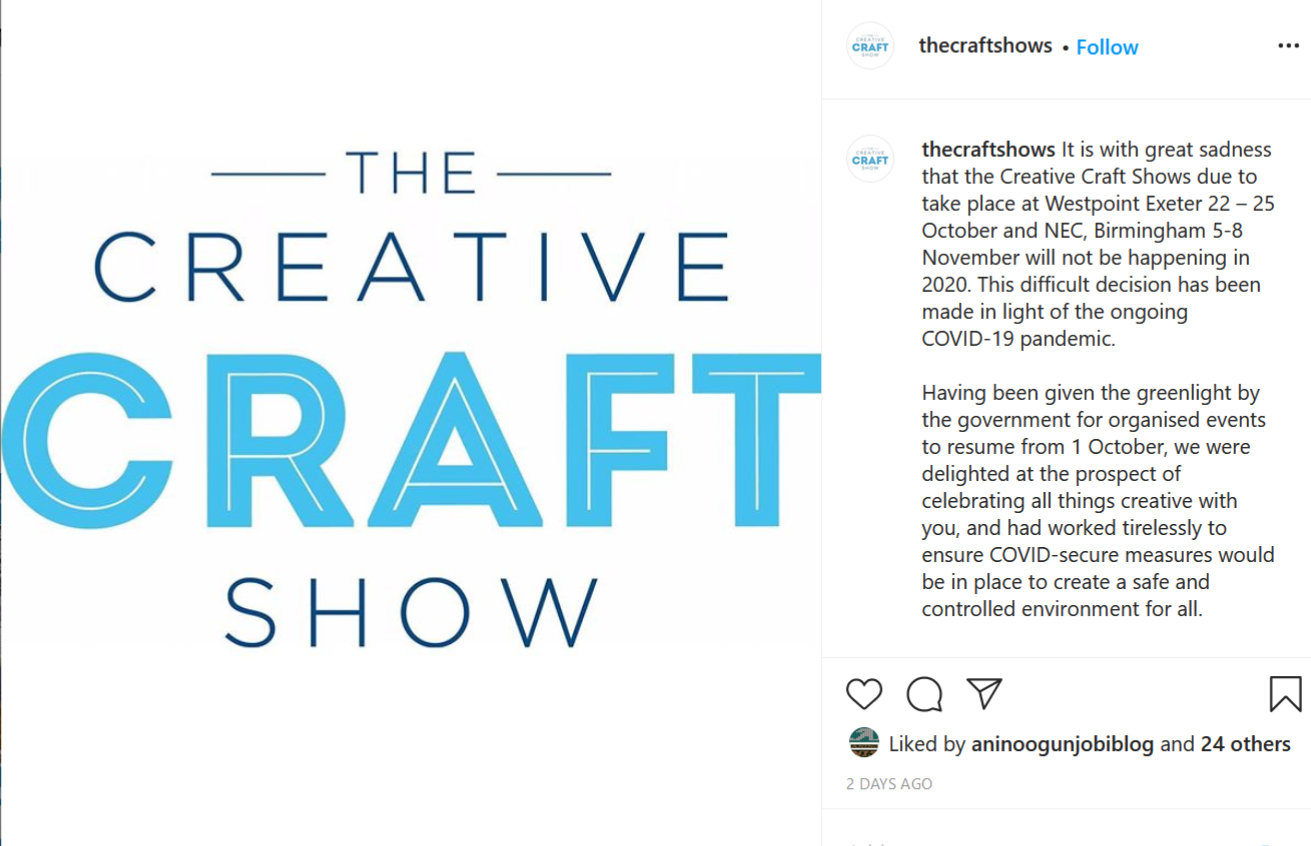 The creative craft show for october 2020 is cancelled