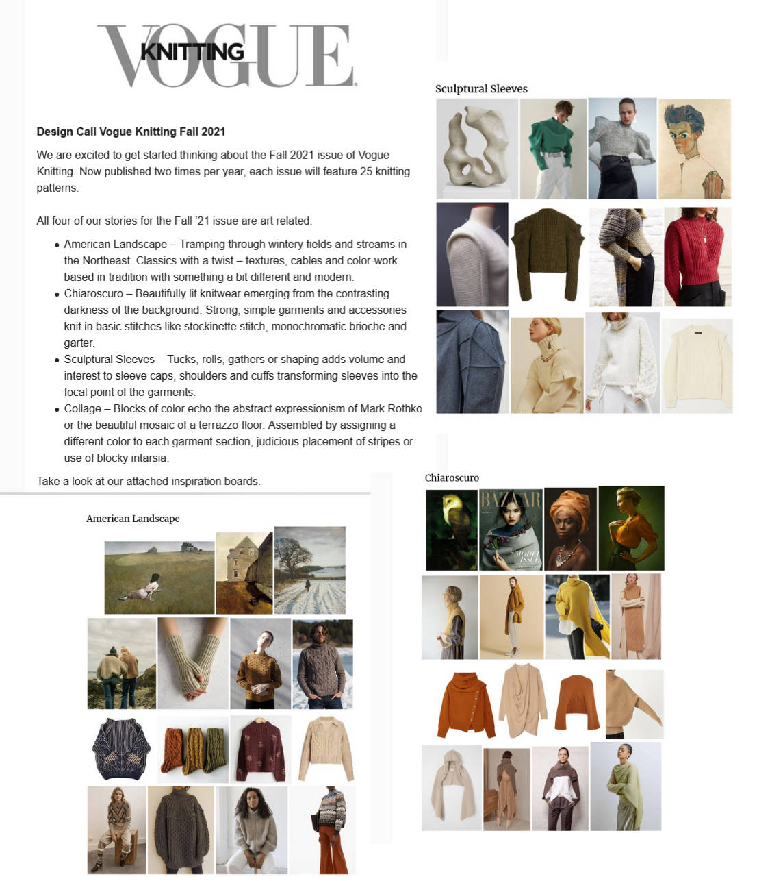 Vogue knitting fall 2021 design submission call