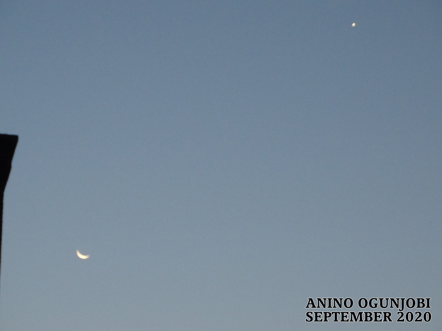 Waning Crescent moon with planet venus 15TH september 2020