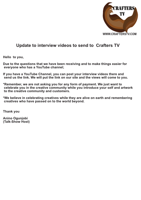 interview videos update by Crafters TV, Anino Ogunjobi on Crafte