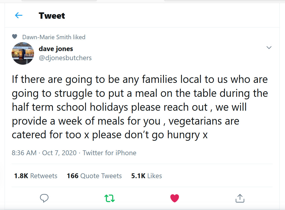 Dave Jones tweet on food support for families