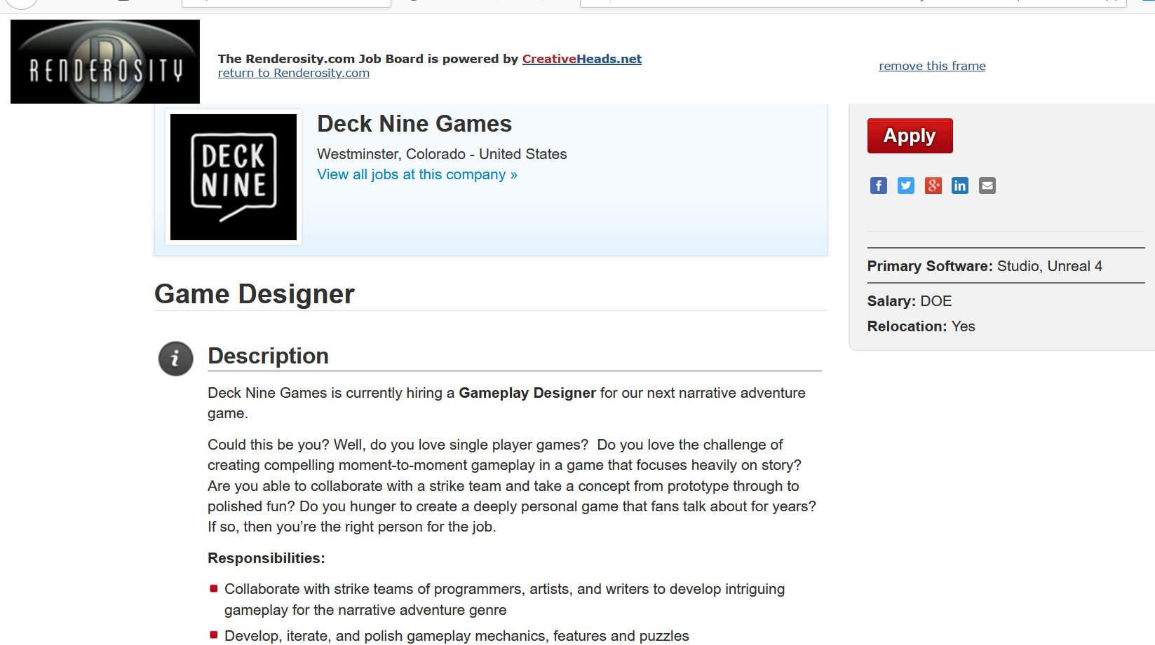 Games design job vacancy at Deck Nine