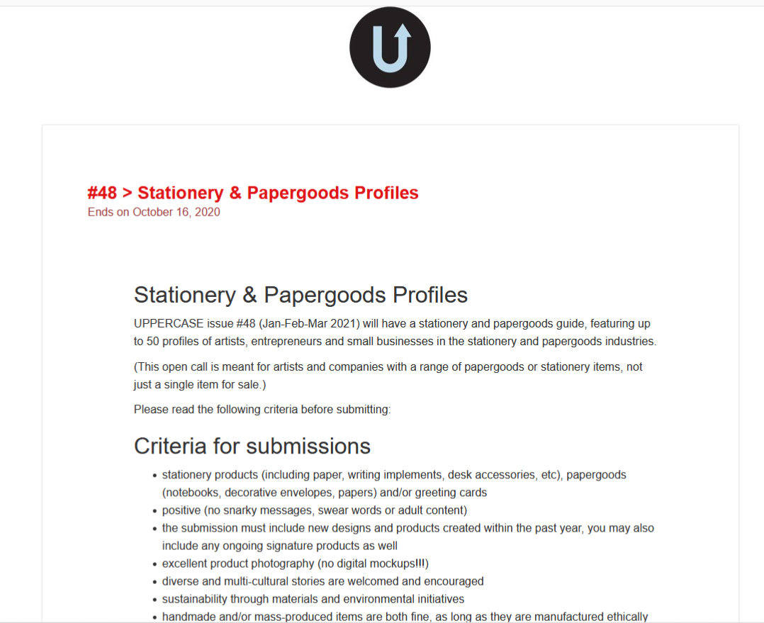 Uppercase design submission call issue 48 paper goods and stationery