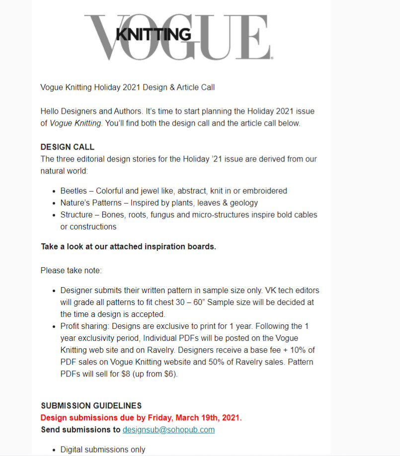 Vogue Knitting Holiday 2021 Design and Article Call on February 2021