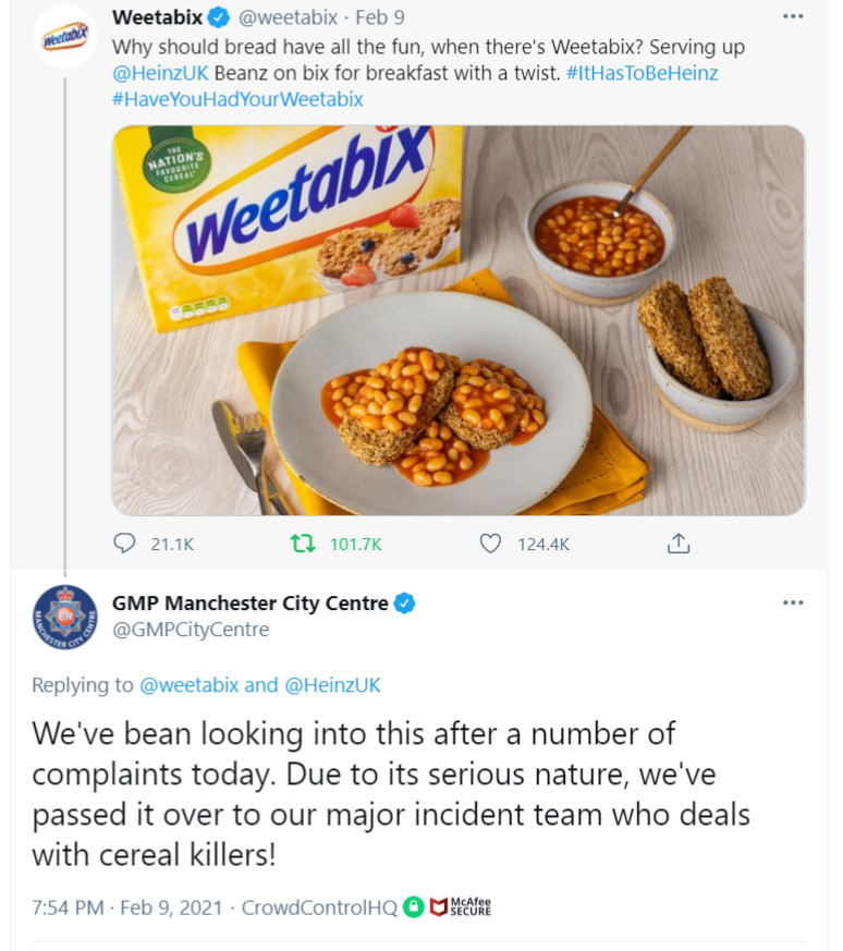 Weetabix-tweet-weetabix-on-baked-beans-breakfast-2-GMP-Manchester-City-Centre-police