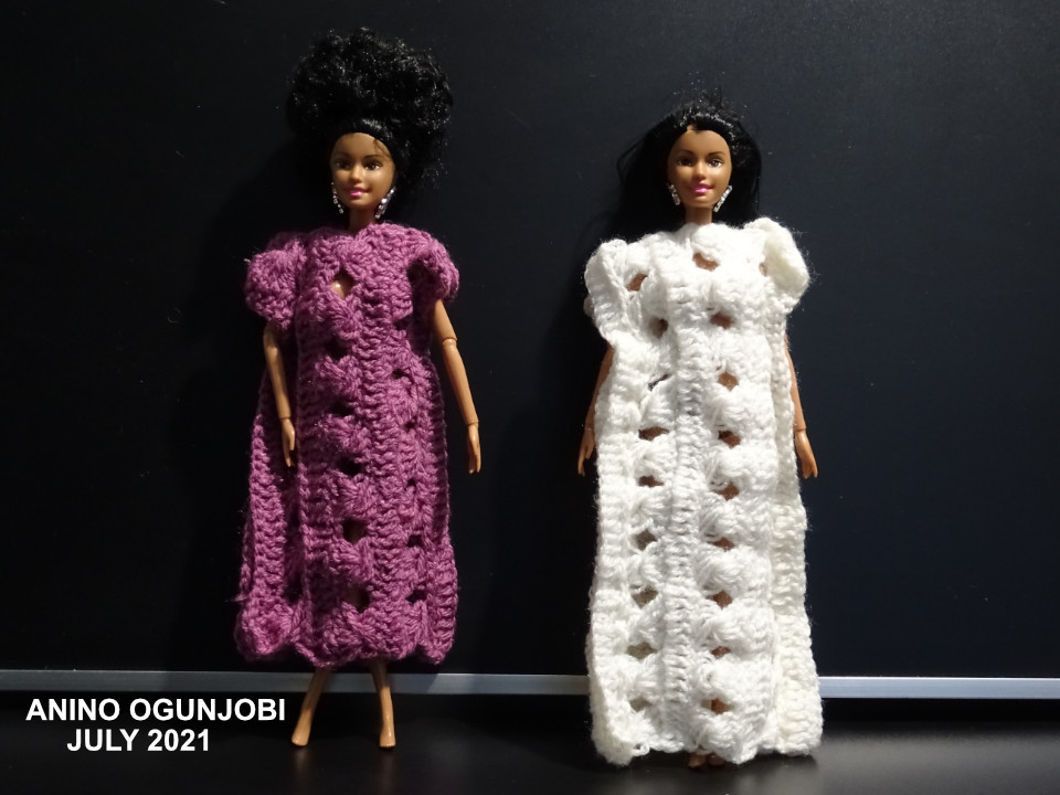 Dolls-wearing-crocheted-ruler-lace-kaftan-by-AninoOgunjobi-and-Crafters-tv