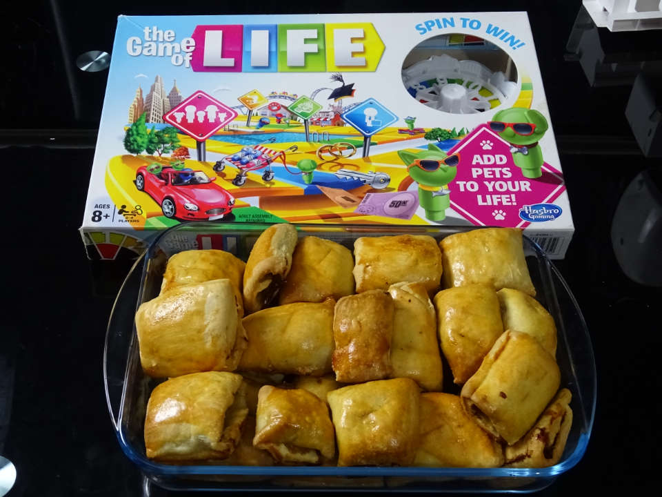 Games-night-with-Game-of-Life-board-game-and-Sausage-roll-snack-CraftersTV